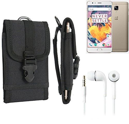 bolsa del cinturón / funda para OnePlus 3T, negro + Auriculares | caja del teléfono cubierta protectora bolso - K-S-Trade (TM)