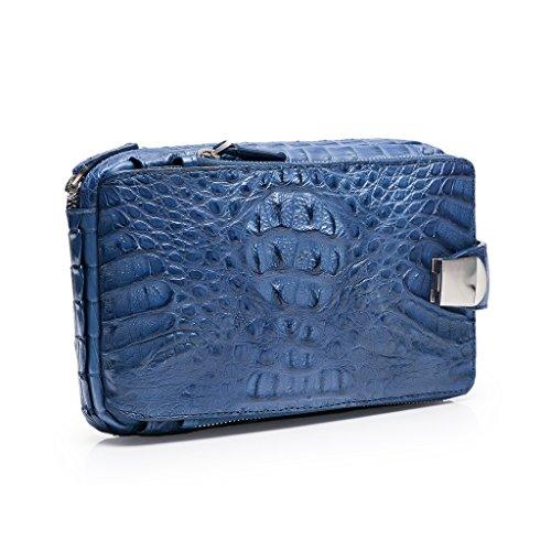 ZRO Men's Portable Crocodile Leather Short Wallets Large Capacity Clutch BLUE by ZRO