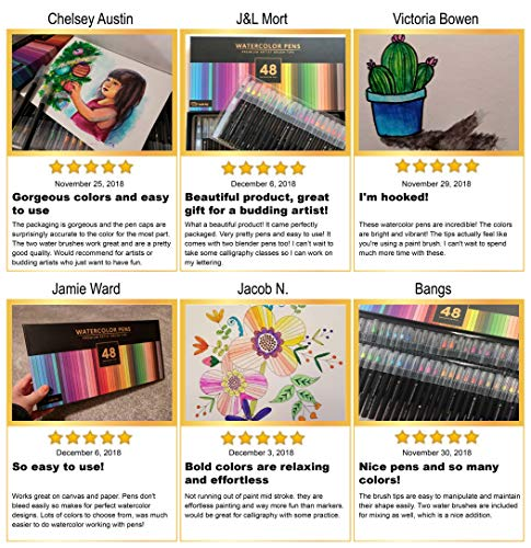 Gift Box : 48 Premium Watercolor Brush Pens, Highly Blendable, No Streaks, Water Color Markers, Unbelievable Value, Water Brush Pen, for Beginner to Professional Artist by Dab and Dot Markers (Image #5)