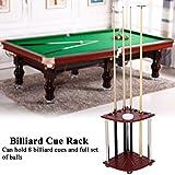 #1: GOTOTOP Wood Billiard Cue Pool Rack Sticks Balls Storage Floor Stand with Ashtray Accessory Billiard Cue Rack