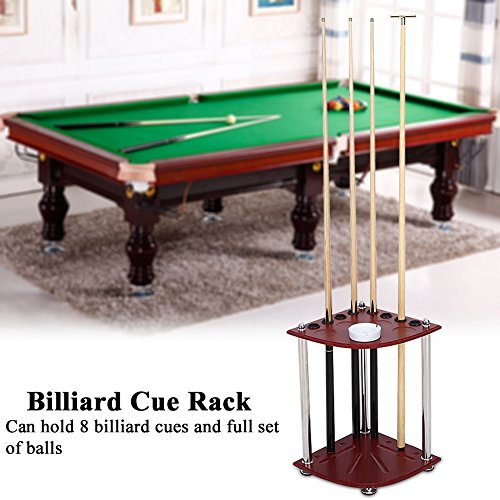 GOTOTOP Wood Billiard Cue Pool Rack Sticks Balls Storage Floor Stand with Ashtray Accessory Billiard Cue Rack