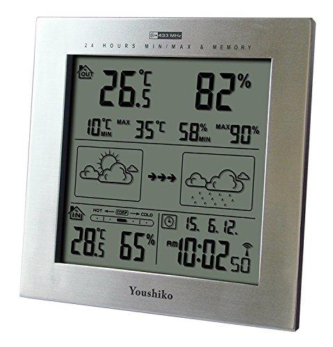 Youshiko Wireless Weather Station with Radio Controlled Clock (UK Version),...