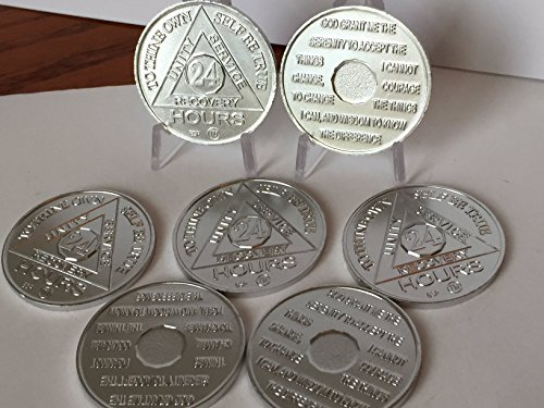 Set of 7 Aluminum 24 Hours AA Medallions Sobriety Chips Serenity Prayer