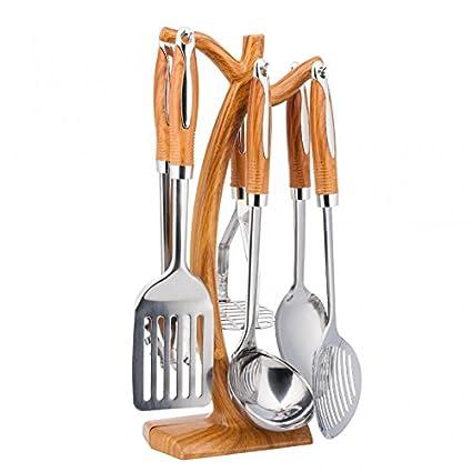 Set 7 pezzi di utensili da cucina premium con manici in legno in ...