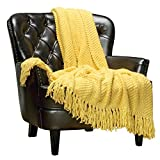 Chanasya Textured Knitted Super Soft Throw Blanket with Tassels Warm Cozy Plush Lightweight Fluffy Woven Blanket for Bed Sofa Chair Couch Cover Living Bed Room Acrylic Throw Blanket(50'x65') - Yellow