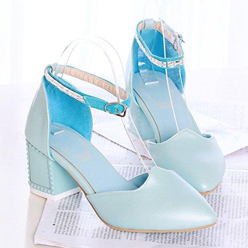 con de de sandalias sandalias Sandalias Sandalias de los zapatos moda gruesas tacón moda la blue mujer de Señoras alto femenina Baotou Moda Zapatillas w0Zq71IxxA