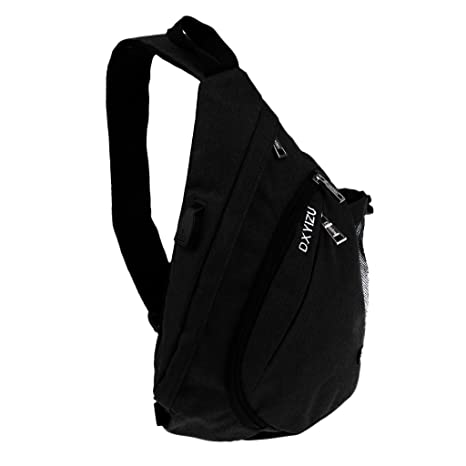 e1630731dc MagiDeal Sling Bag with USB Charging Port Crossbody Canvas Chest Bag Travel  Gear Camping Hiking School