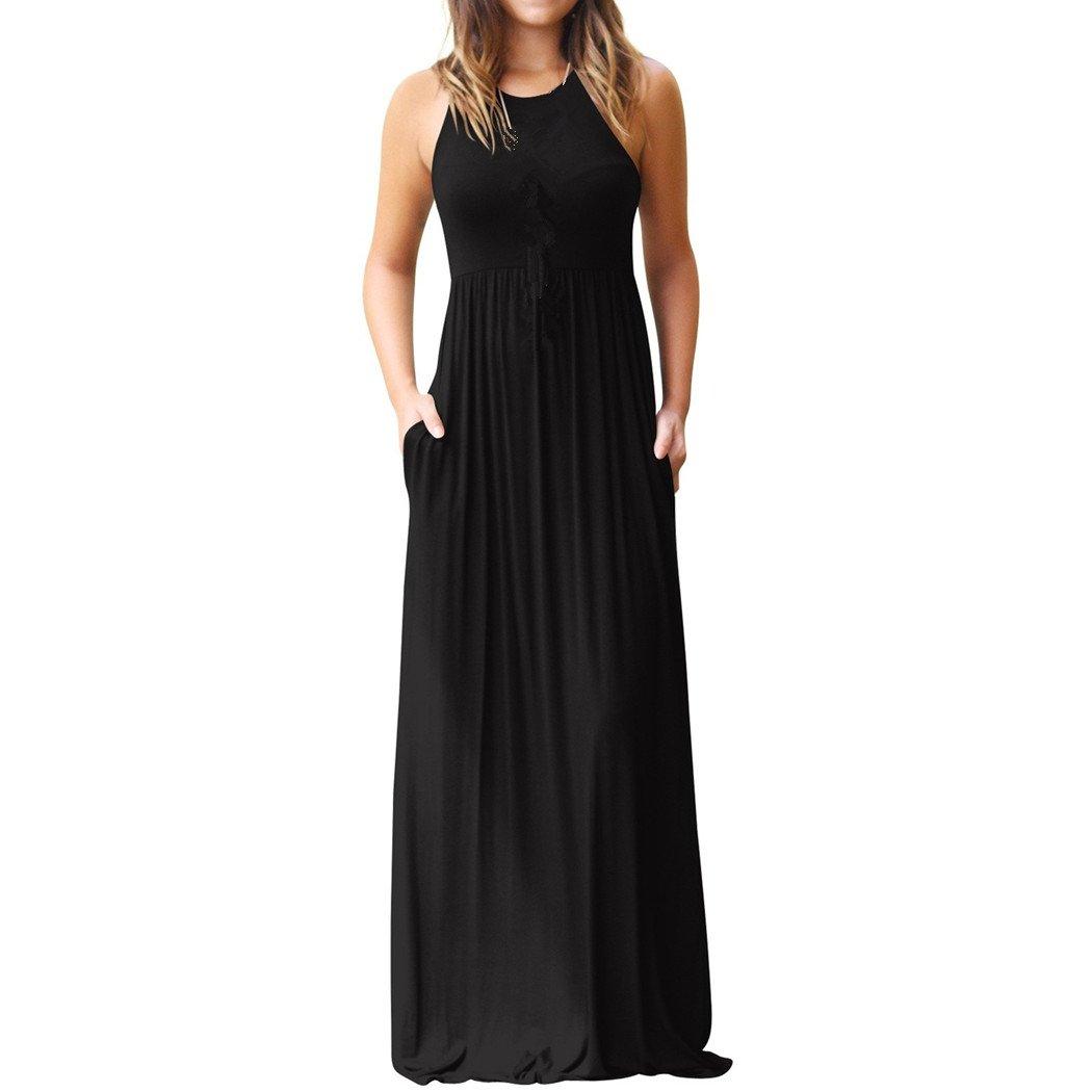 Vestido de mujer, Lananas 2018 Mujer Verano Sin mangas O-cuello Suelto Llanura Maxi Vestidos Casual Largo Vestidos Con bolsillos: Amazon.es: Ropa y ...