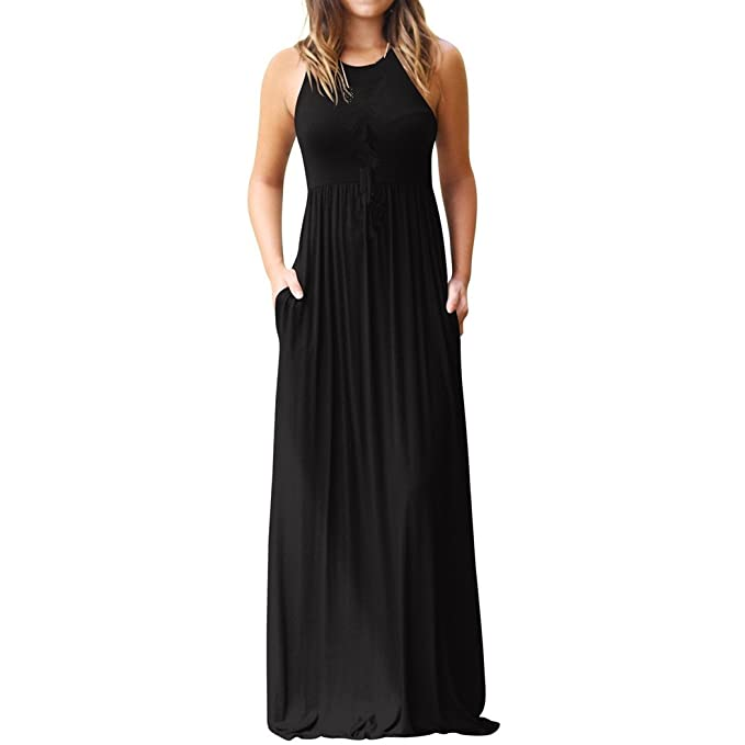 Vestido de mujer, Lananas 2018 Mujer Verano Sin mangas O-cuello Suelto