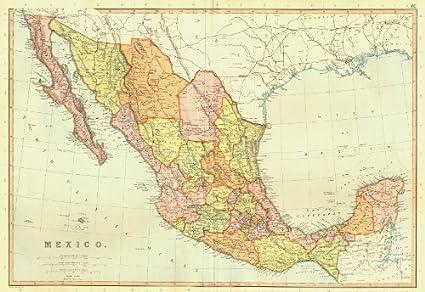 Mexico Old Map Amazon.: MEXICO. showing states & railways. BLACKIE   1893