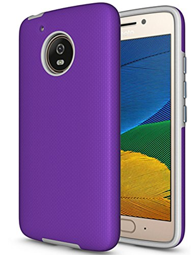 Moto E4 Case (U.S. Edition), Dretal [Shock Absorption] Ultra-Thin Anti-Slip Armor Silicone Rubber Heavy Duty Hybrid Protective Cover for Motorola Moto E4 / Moto E (4th Generation)(Purple)