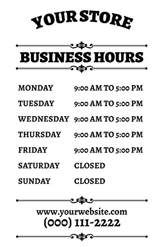 Buttonsmith Custom Personalized Frosted Store Hours Shop Sign - 12x18 - Made in the USA by Buttonsmith