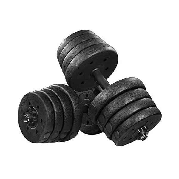 BESPORTBLE 30KG Haltères Réglables Haltères Set avec 4 Colliers Spinlock Et 2 Barres Dextension pour Exercice…