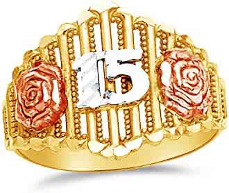 4.5 Size Jewel Tie Solid 14k Rose Yellow /& White Gold 15 Years Birthday Heart Ring