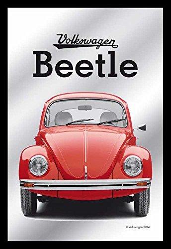Empire Merchandising 657657 Volkswagen - Beetle/Bug -Mirror with Plastic Frame in Wooden Look, Cult Mirror - 20 x 30 cm (Furniture Discount Derby)