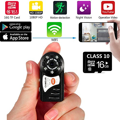 Internet Video Recorders (WiFi Mini Smallest Camera 16GB Included Portable Wireless Sports DV Nanny Cam DVR IR Night Vision Snapshot Video Recorder Indoor and Outdoor for Home Security)