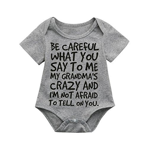 Clearance Sale 0-24 Months Newborn Infant Baby Kids Girl Boy Letter Print Romper Jumpsuit Sunsuit Outfits Clothes (Gray, 12-18 Months) -