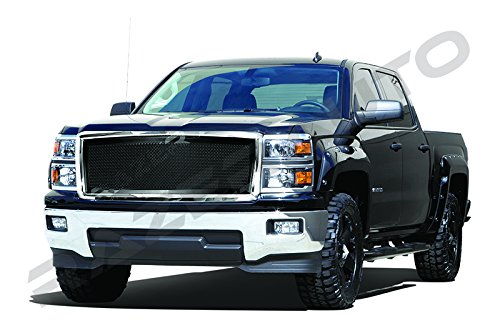 1500 Putco Billet Grille (Razer Auto Triple Chrome Plated Outer Shell with Matte Black Mesh Grille Complete Factory Replacement Grille Shell for 2014-2015 Chevy Silverado 1500)