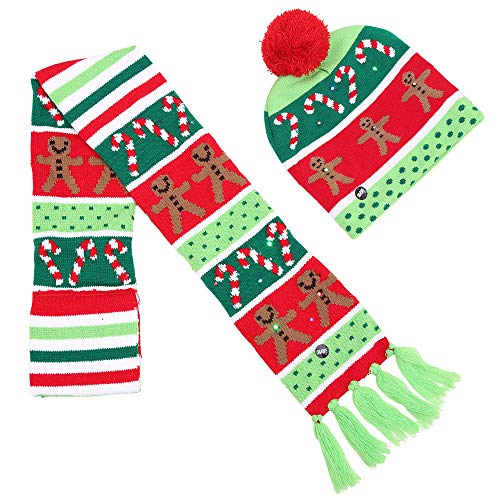 (FTXJ Christmas Kids Baby LED Light Hat Cartoon Tree Xmas Knitted Beanie Cap Scarf Set)
