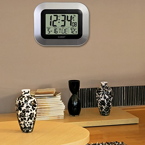 La Crosse Technology WT-8005U-S Atomic Digital Wall Clock with Indoor Temperature, Silver