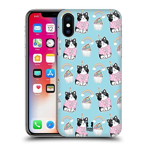 Case+Tempered_Glass, Ultra-Thin Polycarbonate Protector Fits Apple iPhone X/Xs/10 Hard snap on Back Cover Pink Unicorn Whimsical Cat/Kitty/Kitten, Birthday Cup-Cake and Rainbow in Blue Sky -