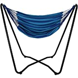 Sunnydaze Hanging Rope Hammock Chair Swing with Space Saving Stand, Beach Oasis – for Indoor or Outdoor Patio, Yard, Porch, and Bedroom
