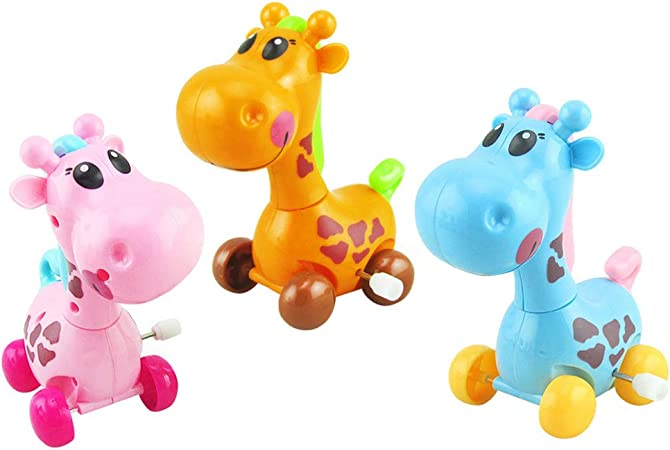 Amazon Nuobesty 3ピース動物風アップおもちゃジャンプキリンおもちゃ面白い時計仕掛けのおもちゃ休日祭誕生日パーティーギフト用赤ちゃん子供幼児 ランダムカラー ベビーカー用おもちゃ おもちゃ
