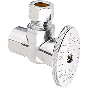Keeney 2047PCLF 3/8-Inch FIP by 3/8-Inch O.D. Lead Free Quarter Turn Angle Valve, Chrome