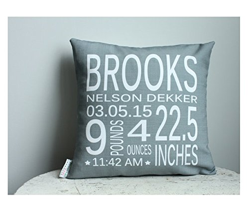 Birth Stat Pillow cover 16x16 Personalized Grey coral modern hipster accessory home décor nursery newborn baby gift zipper canvas custom order christmas gift