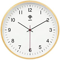 HIPPIH Silent Wall Clock - 8 Inch Non Ticking Digital Quiet Sweep Decorative Vintage Wooden Clocks, White