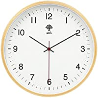 HIPPIH Silent Wall Clock - 8 Inch Non Ticking Digital Quiet Sweep Decorative Vintage Wooden Clocks Easy to Read for Office/Kitchen/Bedroom/Living Room/Classroom, White