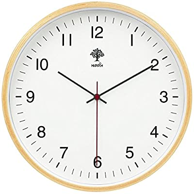 HIPPIH Silent Wall Clock - 9 Inch Non Ticking Digital Quiet Sweep Decorative Vintage Wooden Clocks Easy to Read for Office/Kitchen/Bedroom/Living Room/Classroom, Upgraded - ✅9 Inch WOOD CLOCK: Classic wood frame with concise dial face dressing up any room. Sleek and elegant design, makes it the perfect decorative wall clock for office, living room, classroom, bedroom, bathroom and anywhere in the house. ✅NON-TICKING WALL CLOCK: Silent non-ticking mechanism with sweeping movement, allows you to rest in silence. Precise quartz movements guarantee accurate time. ✅EASY TO READ: Round wooden clock with large numerals and clear glass on top the numbers can be read easily even from a distance. It easy to hang, easy to clean and keeps dust away from clock. - wall-clocks, living-room-decor, living-room - 51k4mIiI fL. SS400  -
