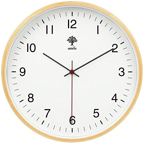 - HIPPIH Silent Wall Clock - 8 Inch Non Ticking Digital Quiet Sweep Decorative Vintage Wooden Clocks Easy to Read for Office/Kitchen/Bedroom/Living Room/Classroom, Upgraded