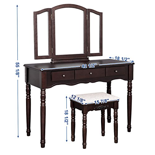 SONGMICS Vanity Table Set with Tri-folding Mirror Large Makeup Dressing Table Cushioned Stool 3 Drawers Brown URDT18Z