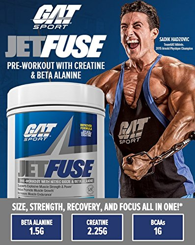 GAT JetFuse Nox Pre-Workout (Blue Raspberry Flavor) With Nitric Oxide & Beta Alanine Supports Explosive Muscle Strength & Power and Help Promote Muscle Growth and Increase Endurance