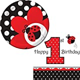 Creative Converting Ladybug Fancy Party Supplies Pack Including Plates and Napkins for 16 Guests.
