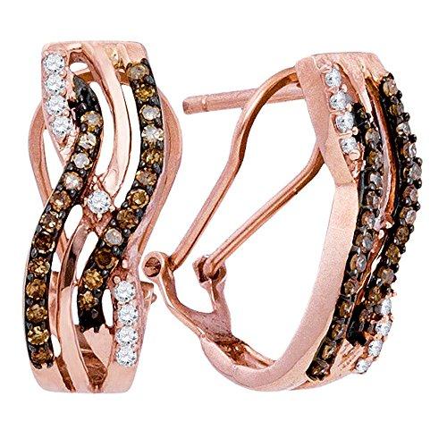 10k Rose Gold Round Chocolate Brown Diamond Striped Hoop Earrings (1/2 Cttw) ()