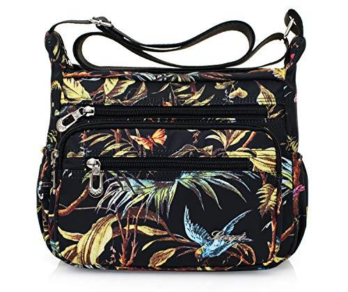 Womens Nylon Floral Shoulder Bag Crossbody Bag Messenger Bags Travel Handbags With Adjustable Strap Waterproof (bird)