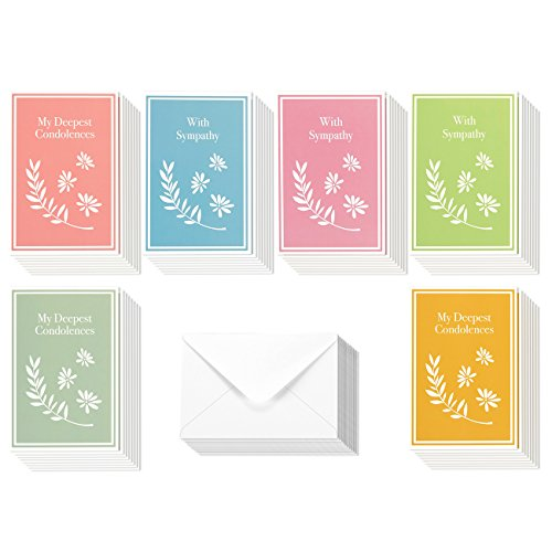 Pastel Design (Sympathy Cards Box Set – 48 Pack Sympathy Cards, 6 Colorful Pastel Designs, Condolence Cards Bulk, Envelopes Included, 4 x 6 Inches)