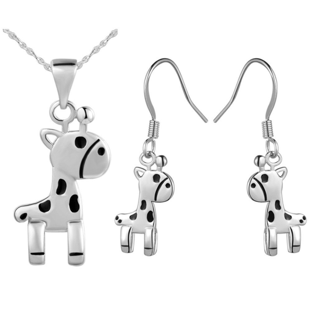 Onefeart White Gold Plated Necklace Pendant Earrings Jewelry Set for Women Horse Shape Wedding Gifts