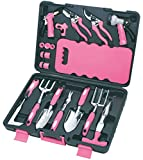 Apollo Tools DT3795P Garden Tool Set, Pink, 18-Piece, Donation Made to Breast Cancer Research