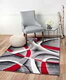 "Summit YY-ZA15-Q3BT ST34 Area Rug Black Red Gray Modern Abstract Many Aprx Sizes Available (3′.8"" X 5′), 4 X 5 ACTUAL IS 3′.8"" X 5′ Review"