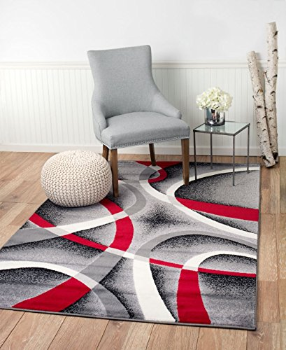 Summit YY-ZA15-Q3BT ST34 Area Rug Black Red Gray Modern Abstract Many Aprx Sizes Available (3'.8'' X 5'), 4 X 5 ACTUAL IS 3'.8'' X -