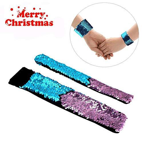 Mermaid Bracelet - 2 Color Reversible Sequin Bracelets - Magic Party Supplies Favors Slap Bracelet for Women, Girls and Kids.