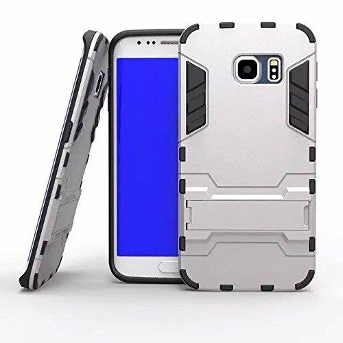 Galaxy S6 Edge Case,Galaxy S6 Edge Case ,Bumper **NEW** [Ultra Hybrid] [Satin Silver] Premium Bumper Case -Dual Layer Premium Armor Hybrid Bumper Cover Armor Kickstand Case for Samsung Galaxy S6 Edge Early 2015 Model white