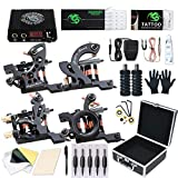 Dragonhawk Complete Tattoo Kit, 4 Craft Coils Tattoo Machines Gun, Tattoo Power Supply Needles Foot Pedal Grips, Tattoo Kit with Case