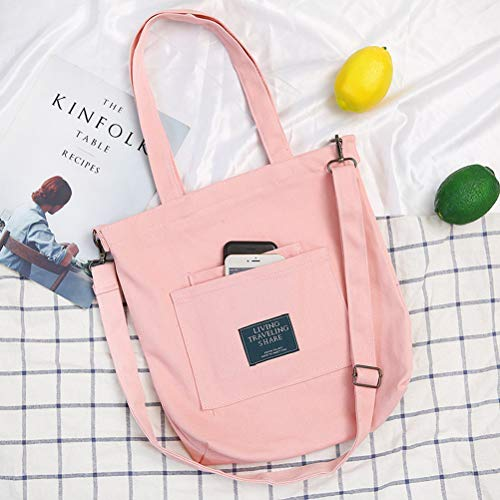 Bags Casual Bag Tote Pink Handbag Travelling Shoppers Ladies Shopping Veyarien Straps Pink Book Shoulder Women Capacity Canvas Travel Ideal School with Large Totes for Crossbody for Girls v7ntn5AwqF