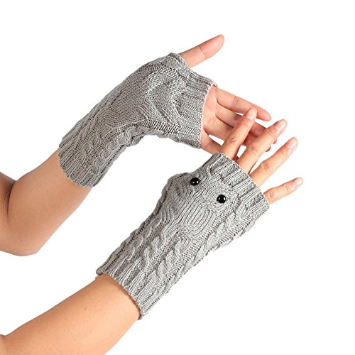 PASATO Winter Solid Wrist Arm Hand Warmer Knitted Long Fingerless Gloves Hole Warm Gloves Mittens for Women(Gray,Free Size) -