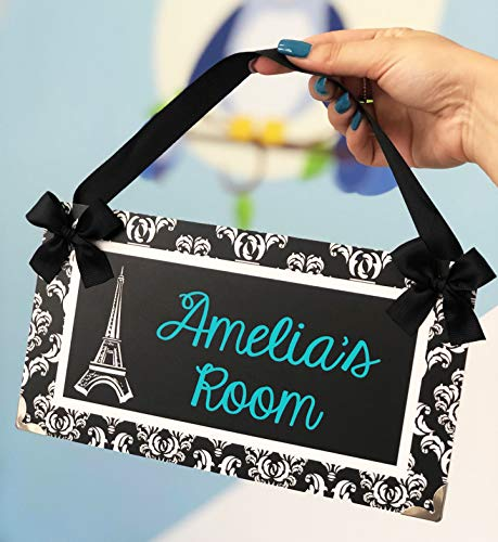 Personalized Eiffel Tower Paris Themed Teens Room Name Door Plaque, Elegant Black and White Damask with Green Teal Text (For Teenagers Bedroom Paris Themed)