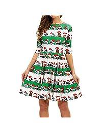 FarJing Women Dress Christmas Fashion Half Sleeve Cat Print Vintage Swing Mini Dress